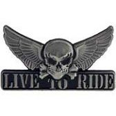 WINGED SKULL LIVE TO RIDE LAPEL PIN